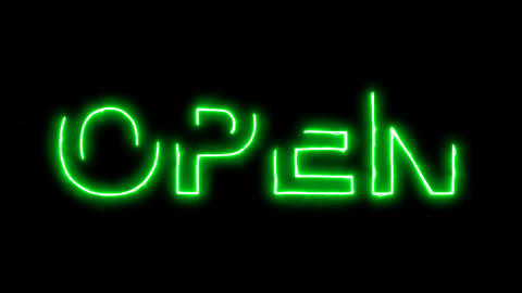 Neon flickering green text OPEN in the haze. Alpha… Stock Video Footage