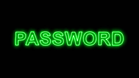 Neon flickering green text PASSWORD in the haze. Alpha channel Premultiplied - Animation