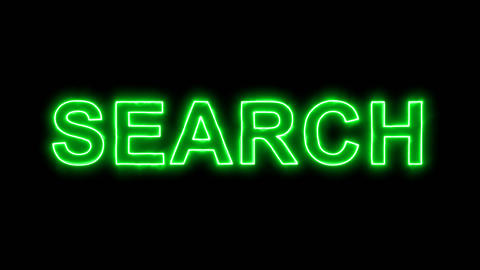 Neon flickering green text SEARCH in the haze. Alpha channel Premultiplied - Animation