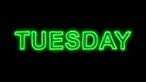 Neon flickering green day of the week TUESDAY in the haze. Alpha channel Animation