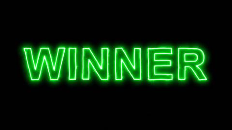 Neon flickering green text WINNER in the haze. Alpha channel Premultiplied - Animation