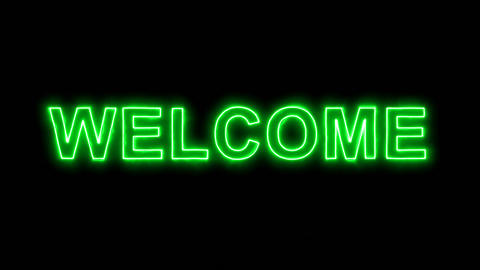 Neon flickering green text WELCOME in the haze. Alpha channel Premultiplied - Animation