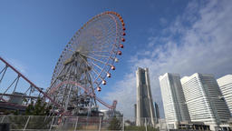 Morning view of modern building and big Ferris wheel Footage