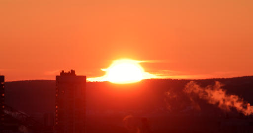 Sunrise closeup. Time Lapse. Ekaterinburg, Russia Footage
