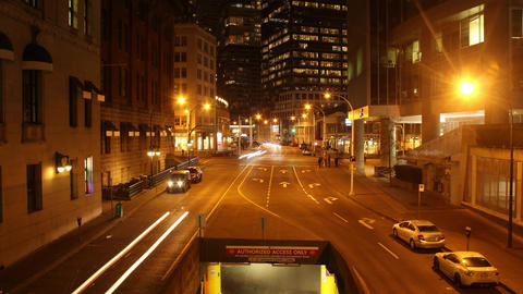 Downtown Vancouver's West Cordova Street at Night Footage