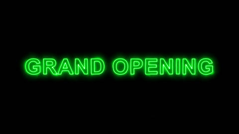 Neon flickering green text GRAND OPENING in the haze. Alpha channel Animation