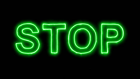 Neon flickering green text STOP in the haze. Alpha channel Premultiplied - Animation