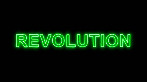 Neon flickering green text REVOLUTION in the haze. Alpha channel Premultiplied - Animation