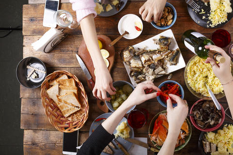 Festive meal. Christmas or Thanksgiving. Happy family at dinner. A Variety of Photo