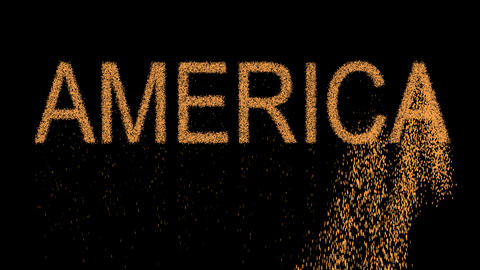 continent name AMERICA appears from the sand, then crumbles. Alpha channel Animation