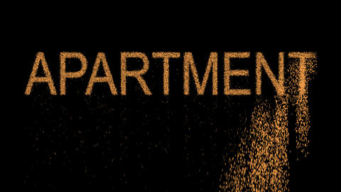 text APARTMENT appears from the sand, then crumbles. Alpha channel Premultiplied Animation
