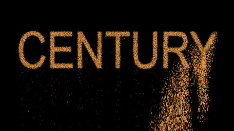 text CENTURY appears from the sand, then crumbles. Alpha channel Premultiplied - Animation