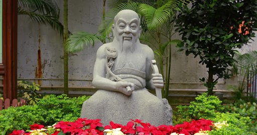 Buddhist Statue at a Park in Hong Kong. China Footage
