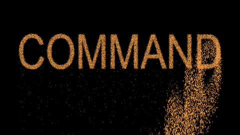 text COMMAND appears from the sand, then crumbles. Alpha channel Premultiplied - Animation
