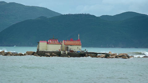 Small Buddhist Temple on the Tiny Island of Hon Du in Vietnam GIF