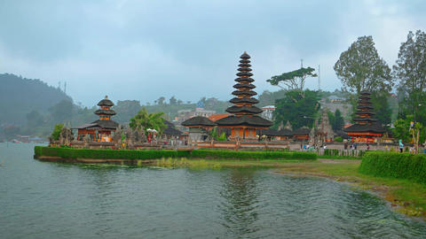 Tourists Visiting Pura Ulun Danu Bratan Temple in Bali. Indonesia GIF