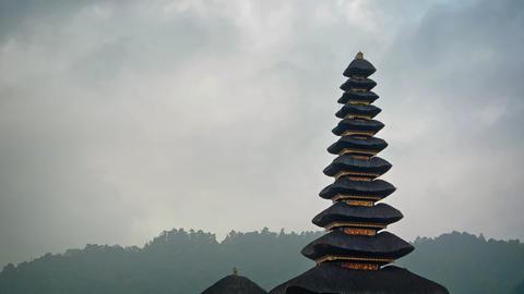 Cloudy sky over Pura Ulun Danu Bratan Temple in Bali Footage