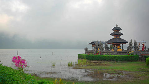 Mist over the Lake at Pura Ulun Danu Bratan Temple in Bali GIF