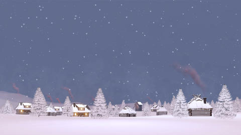 Snow covered village at snowfall Cinemagraph Animation