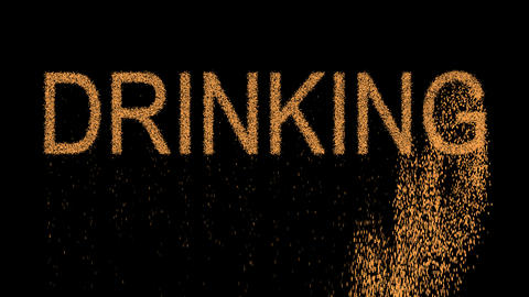 text DRINKING appears from the sand, then crumbles. Alpha channel Premultiplied Animation