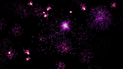 Spectacular fireworks, multiple colorful lights explosions, holiday night sky, Animation