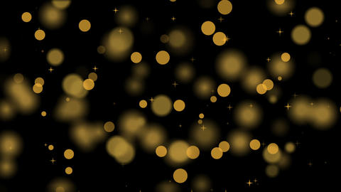 Golden defocused party lights, twinkling stars and bokeh, celebrations Animation