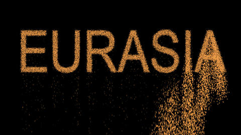 continent name EURASIA appears from the sand, then crumbles. Alpha channel Animation