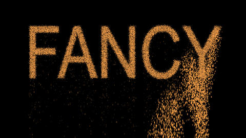 text FANCY appears from the sand, then crumbles. Alpha channel Premultiplied - Animation