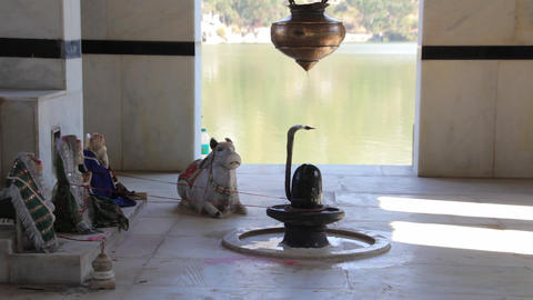 Shiva temple on the banks of the river Ganges Footage