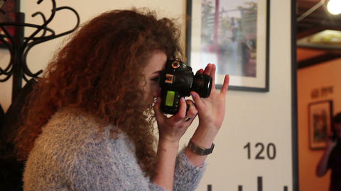woman photographer at work indoors Footage