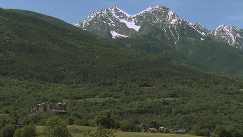 Medieval castle in the mountains in Val D'Aosta, Italy Footage