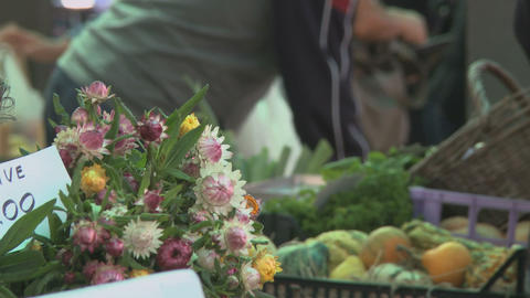 Flowers in farmers market place in Italy Footage