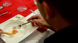 Man eated food - finished food Footage