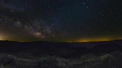 A beautiful night sky milky way shot captured at Dantes View, Death Valley in Ne Live Action
