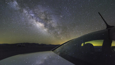 A beautiful night sky milky way shot captured at Dantes View, Death Valley in Ne Footage