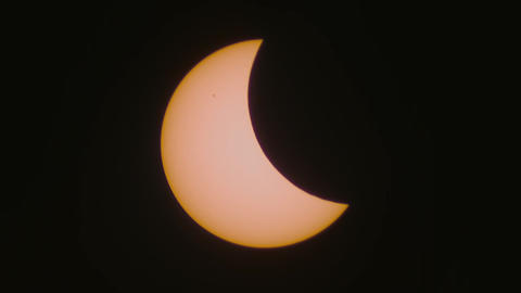 The partial solar eclipse captured through a telescope, March 20, 2015 Footage