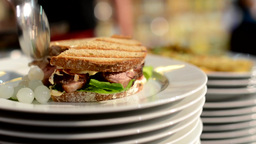 meals (food: sandwich) ready for serve - chef prepares food Footage