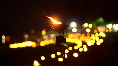 Video of Religious candle in loi Krathong lantern yeepeng night, Thailand. Thai Footage