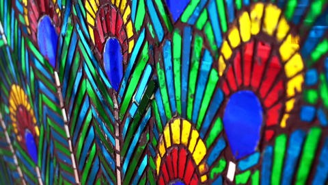 peacock feather, exotic indian graphic mosaic glass Stock Video Footage