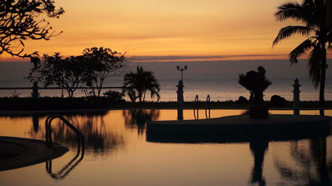 Tropical sunset beach Resort Paradise Palm Trees Silhouettes Reflection in the Water Footage