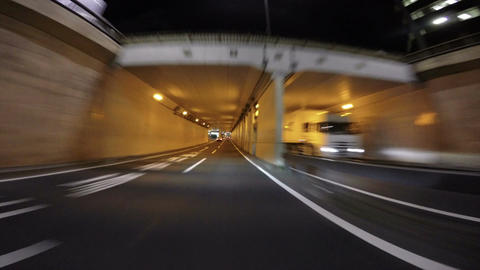 Driver's POV through the Showa Dori underpass of central Tokyo Footage