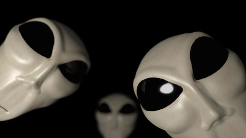 Alien grey heads faces creepy extraterrestrial gray abduction creature ufo 4k Footage