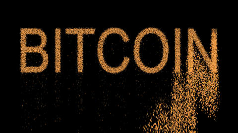 crypto currency name BITCOIN appears from the sand, then crumbles. Alpha channel Animation