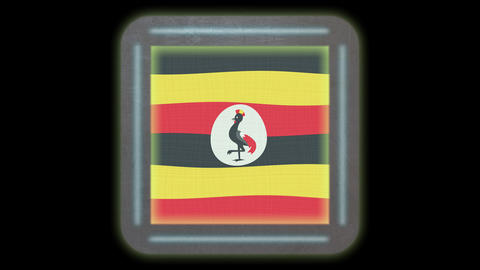 Uganda flag waving in the wind. Icon in the frame. Animation loop GIF