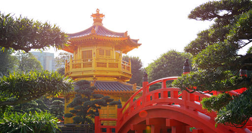 Golden Pagoda and Ornate Bridge at Chi Lin Nunnery GIF