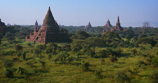 Ancient Stupas of Bagan Archaeological Area in Myanmar GIF