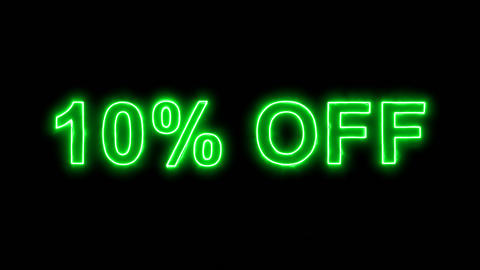 Neon flickering green sale tag 10% OFF in the haze. Alpha channel Premultiplied Animation
