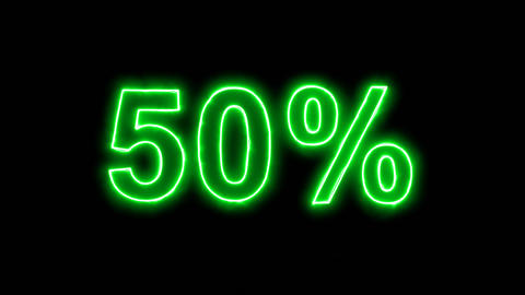 Neon flickering green sale tag 50% in the haze. Alpha channel Premultiplied - Animation