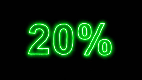 Neon flickering green sale tag 20% in the haze. Alpha channel Premultiplied - Animation