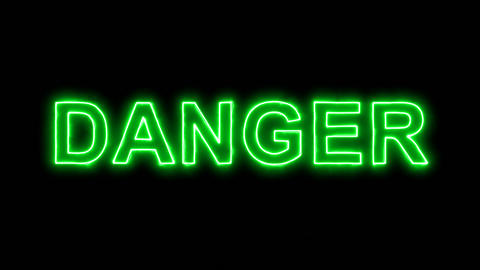 Neon flickering green text DANGER in the haze. Alpha channel Premultiplied - Animation